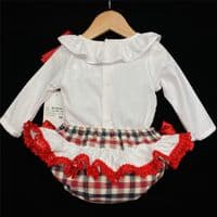 Baby Girl Beautiful Red Checked Jam Pants Set Frilly Back MYD200R